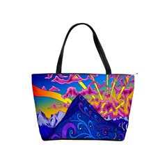 Psychedelic Colorful Lines Nature Mountain Trees Snowy Peak Moon Sun Rays Hill Road Artwork Stars Shoulder Handbags by Simbadda