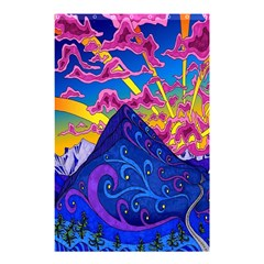 Psychedelic Colorful Lines Nature Mountain Trees Snowy Peak Moon Sun Rays Hill Road Artwork Stars Shower Curtain 48  X 72  (small)  by Simbadda