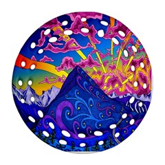 Psychedelic Colorful Lines Nature Mountain Trees Snowy Peak Moon Sun Rays Hill Road Artwork Stars Round Filigree Ornament (two Sides) by Simbadda