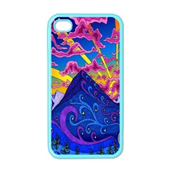 Psychedelic Colorful Lines Nature Mountain Trees Snowy Peak Moon Sun Rays Hill Road Artwork Stars Apple Iphone 4 Case (color) by Simbadda