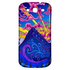 Psychedelic Colorful Lines Nature Mountain Trees Snowy Peak Moon Sun Rays Hill Road Artwork Stars Samsung Galaxy S3 S Iii Classic Hardshell Back Case by Simbadda