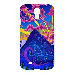 Psychedelic Colorful Lines Nature Mountain Trees Snowy Peak Moon Sun Rays Hill Road Artwork Stars Samsung Galaxy S4 I9500/i9505 Hardshell Case by Simbadda
