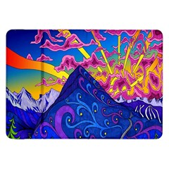 Psychedelic Colorful Lines Nature Mountain Trees Snowy Peak Moon Sun Rays Hill Road Artwork Stars Samsung Galaxy Tab 8 9  P7300 Flip Case by Simbadda