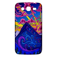Psychedelic Colorful Lines Nature Mountain Trees Snowy Peak Moon Sun Rays Hill Road Artwork Stars Samsung Galaxy Mega 5 8 I9152 Hardshell Case  by Simbadda