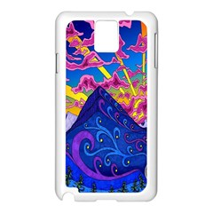Psychedelic Colorful Lines Nature Mountain Trees Snowy Peak Moon Sun Rays Hill Road Artwork Stars Samsung Galaxy Note 3 N9005 Case (white)