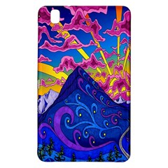 Psychedelic Colorful Lines Nature Mountain Trees Snowy Peak Moon Sun Rays Hill Road Artwork Stars Samsung Galaxy Tab Pro 8 4 Hardshell Case by Simbadda