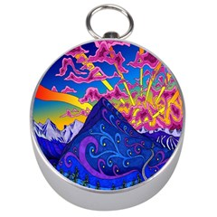 Psychedelic Colorful Lines Nature Mountain Trees Snowy Peak Moon Sun Rays Hill Road Artwork Stars Silver Compasses by Simbadda