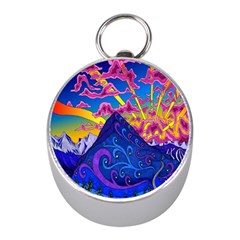 Psychedelic Colorful Lines Nature Mountain Trees Snowy Peak Moon Sun Rays Hill Road Artwork Stars Mini Silver Compasses