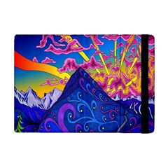 Psychedelic Colorful Lines Nature Mountain Trees Snowy Peak Moon Sun Rays Hill Road Artwork Stars Ipad Mini 2 Flip Cases by Simbadda