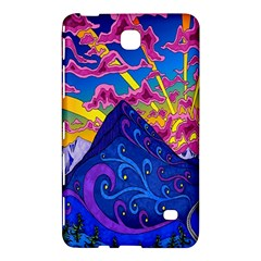 Psychedelic Colorful Lines Nature Mountain Trees Snowy Peak Moon Sun Rays Hill Road Artwork Stars Samsung Galaxy Tab 4 (7 ) Hardshell Case