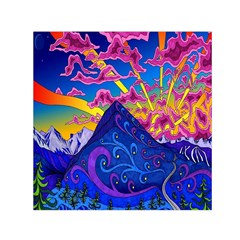 Psychedelic Colorful Lines Nature Mountain Trees Snowy Peak Moon Sun Rays Hill Road Artwork Stars Small Satin Scarf (square) by Simbadda