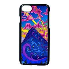 Psychedelic Colorful Lines Nature Mountain Trees Snowy Peak Moon Sun Rays Hill Road Artwork Stars Apple Iphone 7 Seamless Case (black)