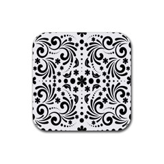 Leaf Flower Floral Black Rubber Coaster (square)  by Alisyart