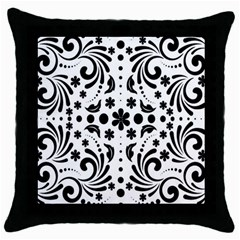 Leaf Flower Floral Black Throw Pillow Case (black) by Alisyart