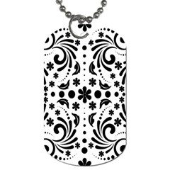 Leaf Flower Floral Black Dog Tag (one Side) by Alisyart