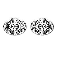 Leaf Flower Floral Black Cufflinks (oval)
