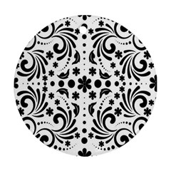 Leaf Flower Floral Black Round Ornament (two Sides) by Alisyart
