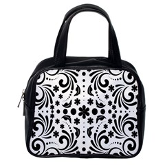 Leaf Flower Floral Black Classic Handbags (one Side) by Alisyart