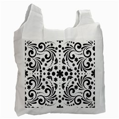 Leaf Flower Floral Black Recycle Bag (one Side)