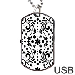 Leaf Flower Floral Black Dog Tag Usb Flash (one Side) by Alisyart