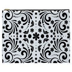 Leaf Flower Floral Black Cosmetic Bag (xxxl)