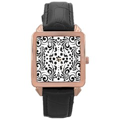 Leaf Flower Floral Black Rose Gold Leather Watch  by Alisyart