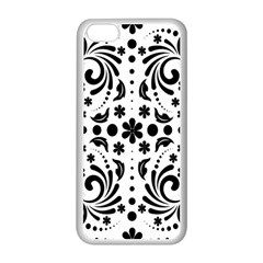 Leaf Flower Floral Black Apple Iphone 5c Seamless Case (white)