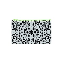 Leaf Flower Floral Black Cosmetic Bag (xs) by Alisyart