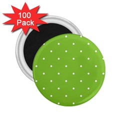 Mages Pinterest Green White Polka Dots Crafting Circle 2 25  Magnets (100 Pack)  by Alisyart