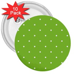 Mages Pinterest Green White Polka Dots Crafting Circle 3  Buttons (10 Pack)  by Alisyart