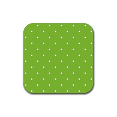 Mages Pinterest Green White Polka Dots Crafting Circle Rubber Square Coaster (4 Pack)  by Alisyart