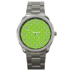 Mages Pinterest Green White Polka Dots Crafting Circle Sport Metal Watch by Alisyart