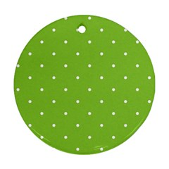 Mages Pinterest Green White Polka Dots Crafting Circle Round Ornament (two Sides) by Alisyart