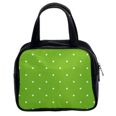 Mages Pinterest Green White Polka Dots Crafting Circle Classic Handbags (2 Sides) by Alisyart