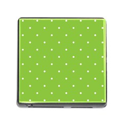 Mages Pinterest Green White Polka Dots Crafting Circle Memory Card Reader (square) by Alisyart