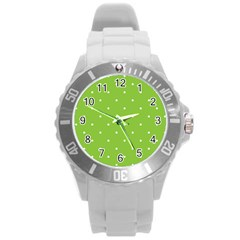 Mages Pinterest Green White Polka Dots Crafting Circle Round Plastic Sport Watch (l) by Alisyart
