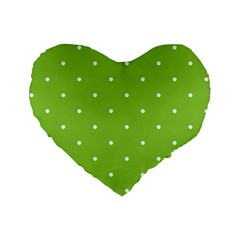 Mages Pinterest Green White Polka Dots Crafting Circle Standard 16  Premium Heart Shape Cushions by Alisyart