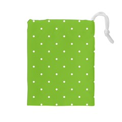 Mages Pinterest Green White Polka Dots Crafting Circle Drawstring Pouches (large)  by Alisyart