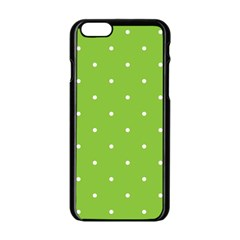 Mages Pinterest Green White Polka Dots Crafting Circle Apple Iphone 6/6s Black Enamel Case