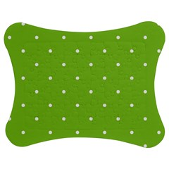 Mages Pinterest Green White Polka Dots Crafting Circle Jigsaw Puzzle Photo Stand (bow) by Alisyart