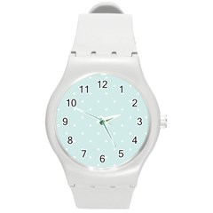 Mages Pinterest White Blue Polka Dots Crafting  Circle Round Plastic Sport Watch (m) by Alisyart
