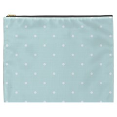 Mages Pinterest White Blue Polka Dots Crafting  Circle Cosmetic Bag (xxxl)
