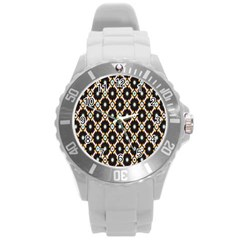 Flower Floral Line Star Sunflower Round Plastic Sport Watch (l) by Alisyart