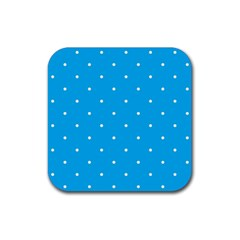 Mages Pinterest White Blue Polka Dots Crafting Circle Rubber Square Coaster (4 Pack)  by Alisyart