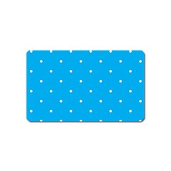 Mages Pinterest White Blue Polka Dots Crafting Circle Magnet (name Card)
