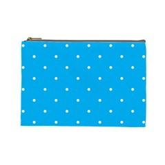 Mages Pinterest White Blue Polka Dots Crafting Circle Cosmetic Bag (large)  by Alisyart