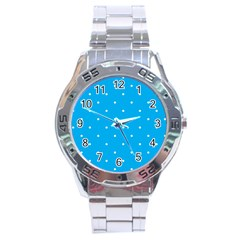 Mages Pinterest White Blue Polka Dots Crafting Circle Stainless Steel Analogue Watch by Alisyart