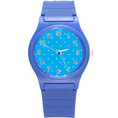Mages Pinterest White Blue Polka Dots Crafting Circle Round Plastic Sport Watch (s) by Alisyart