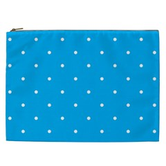 Mages Pinterest White Blue Polka Dots Crafting Circle Cosmetic Bag (xxl)  by Alisyart