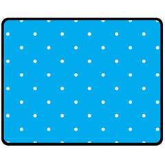 Mages Pinterest White Blue Polka Dots Crafting Circle Double Sided Fleece Blanket (medium)